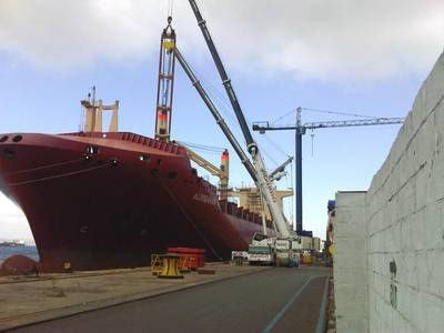 Gibdock undertook extensive crane renewal on the geared containership Aldebaran