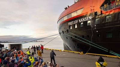 Ice breaks against the hull as battery-hybrid MS Fridtjof Nansen was named in a ceremony at home in Longyearbyen, Svalbard. (Photo: Espen Mills/Hurtigruten Expeditions)