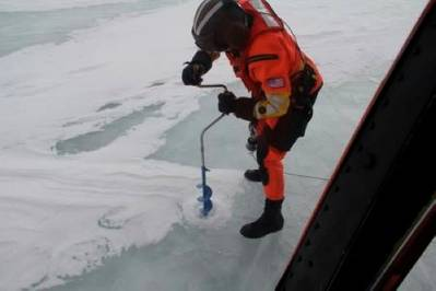 Ice drilling: Photo credit USCG