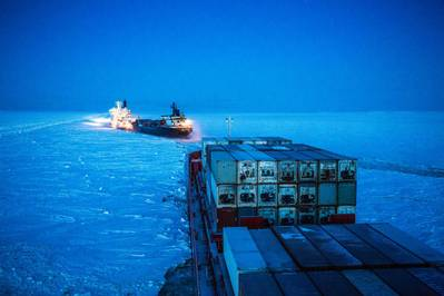 Icebreaker clears path for Nornickel cargo carrier along Norther Sea Route - Credit: Nornickel