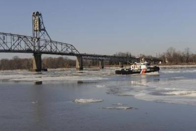 Iced-up Delaware River: Photo courtesy of USCG