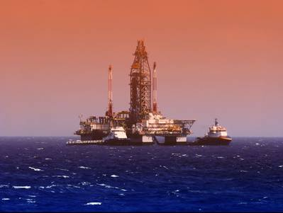 Illustration; An offshore vessel near a drilling rig in the Gulf of Mexico - Credit: flyingrussian