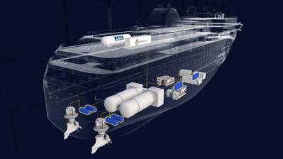 Illustration of the ship's propulsion systems with integrated LH2 tank and fuel cells. Photo: Havyard
