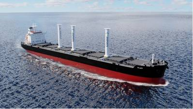 Illustration of TR Lady with 3 Anemoi Rotor Sails on Rail Deployment System. Photo courtesy TR Lady Shipping/Anemoi Marine Technnologies