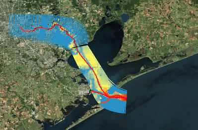 image illustrating depths of Houston / Galveston Ship Channel