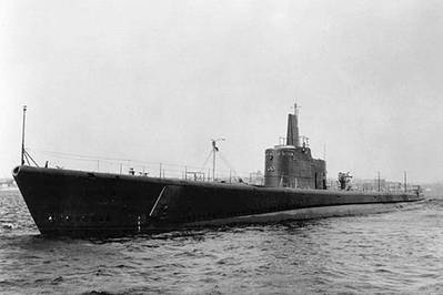 In this undated file photo the submarine USS Grunion (SS 216) is seen underway. Grunion was reported lost on August 16, 1942 after reporting firing on an enemy destroyer, sinking three destroyer-type vessels, and attacking unidentified enemy ships during her first war patrol. The boat has been found off the coast of the Aleutian Islands by the sons of the boat's commanding officer, who was lost with the ship in World War II. U.S. Navy Photo
