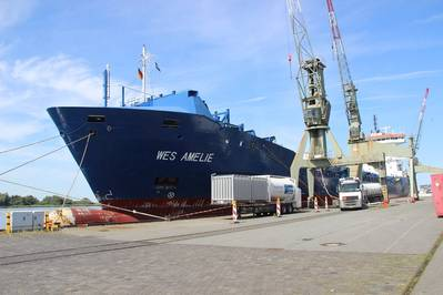 In total, four trucks of LNG were brought to the German port and transferred to Wes Amelie (Photo: Nauticor)