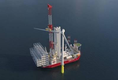 Wind Turbine Installation vessel ordered last year by OHT - Credit: OHT