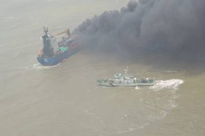 Indian flagged containership SSL Kolkata caught fire and went adrift in the Bay of Bengal on June 13 (Photo courtesy of the Indian Coast Guard)