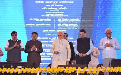 Indian PM Narendra Modi dedicated to the nation the 4th container terminal built at Navi Mumbai. Photo: Nitin Gadkari