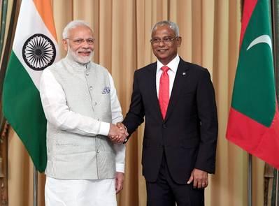 Indian Prime Minister, Narendra Modi and President of Maldives Ibrahim Mohamed Solih. Photo: PIB