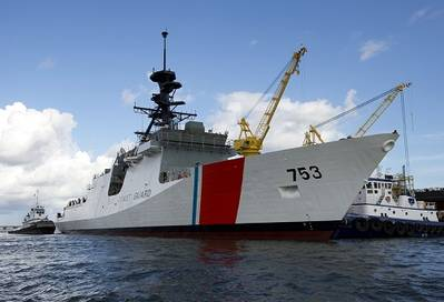 Ingalls Shipbuilding launched the fourth U.S. Coast Guard National Security Cutter, Hamilton (WMSL 753), on Aug 10. Photo by Steve Blount