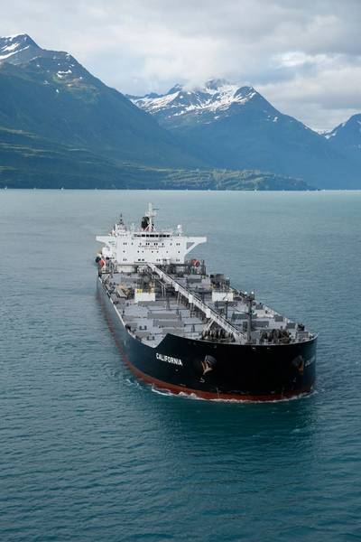 Inmarsat said successful trials in Alaskan waters on board the Aframax tanker California contributed to the decision by Crowley Maritime Corp. to install Fleet Xpress across the majority of its fleet. (Photo: Inmarsat)