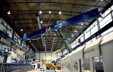 Installation of the new crane system at the SchottelGmbH Wismar subsidiary. The investment in the facility amounts to 500,000 euro, ensuring a faster and more efficient production process. Photo Courtesy Schottel