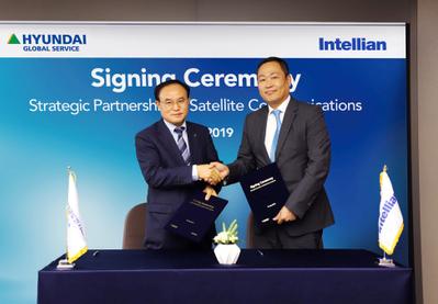 Intellian and HGS sign partnership (Photo: Hyundai Global Service)