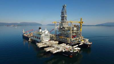 Pioneering Spirit transports the drilling platform topsides for Equinor's Johan Sverdrup development (Photo: Allseas)
