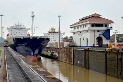 Isla Bella transiting the locks at Mira Flores (Photo courtesy of the Panama Canal Authority)