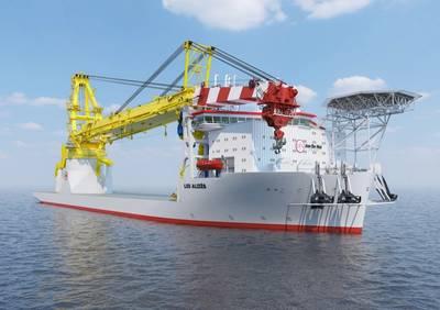 Jan de Nul's new crane vessel Les Alizés - Credit: Castor Marine