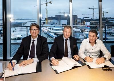 Jan-Wim Dekker, CPO, Damen Shipyards Gorinchem; Simon Provoost, Product Director Inland Waterway Transport, Damen Shipyards Gorinchem; and Chris Kornet, CEO, Concordia (Photo: Damen)