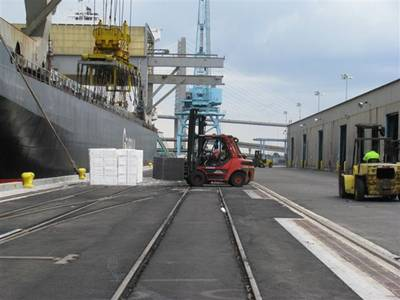 JAXPORT forklift, crane at work: Photo courtesy of JAXPORT