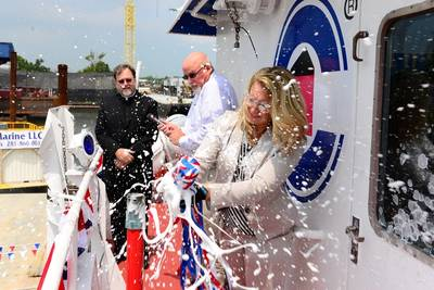 Jennifer Legg christens 'Ocean Sky': Photo Crowley Maritime
