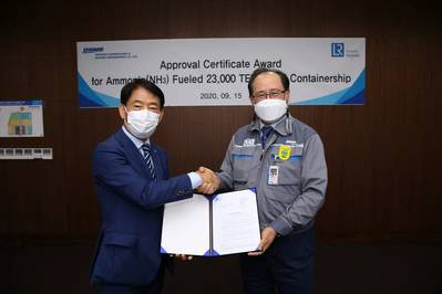 Jin-Tae Lee, LR's Marine and Offshore President for North East Asia awarded AiP certificate to Odin Kwon, CTO of DSME, Executive Vice President. (Photo: Lloyd's Register)