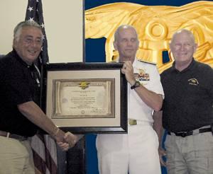 J.J. Marie, ADM Bonelli, and Jack Lynch, UDT-SEAL Association President.