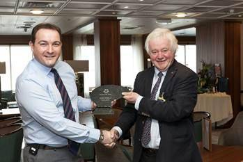 "John Parton (Cruise Director, Saga Pearl 2"") and Hans-Werner Tovar (City President Kiel)"