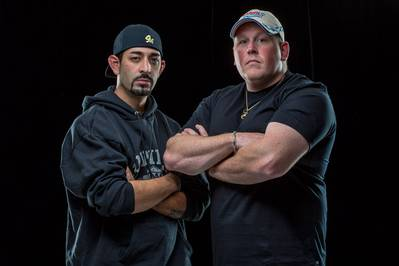 Josh Harris (left) and Casey McManus, a pair of 31-year-olds who respectively own and run the fishing boat Cornelia Marie, made famous on the Discovery Channel's cable television show Deadliest Catch (Photo Copyright Daniel Sheehan 2014)