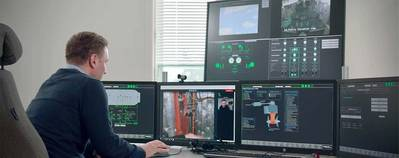 Kim Gunnar Jensen, project engineer at Fjord1, at the shore-based engine control centre used in the ROMAS project. (Source: Fjord1)