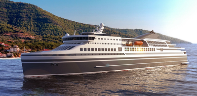 KNUD E. HANSEN's newest ferry design is a 154-meter RoPax ferry that can transport up to 1500 passengers and 440 cars, also featuring 657 lane meters for trucks and trailers.  (Photo: KNUD E. HANSEN)