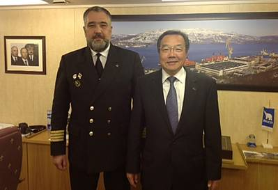 Koji Sekimizu & Captain D. Lobusov of 50 Let Pobedy: Photo credit  IMO