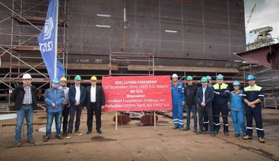 Keel Laying 'National Geographic Resolution'. Photo: Ulstein Group