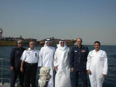 (L to R) Capt. Abdulhusain Abdulla, Head of Maritime Safety & Environment Protection, GOP; Brigadier Ala a Syadi, Commander of Bahrain Coast Guard; Hassan Al Majed , Director General, GOP; Dr Adel Al Zayani                     Director General, Environment ; Capt. Hesham A.Rahman, Head of Technical Affairs, GOP; and Colonel Yusif Al Subai, Bahrain Coast Guard.