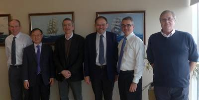 l to r, John Brechin Managing Director V.Ships UK, Captain Yun Ho No, Vice President OSG Ship Management, Mike Dunstall, Commercial Manager PC Maritime, David Edmonds, Managing Director PC Maritime, William Nugent, Vice President OSG Ship Management, and Brian Kinson, technical manager OSG Ship Management