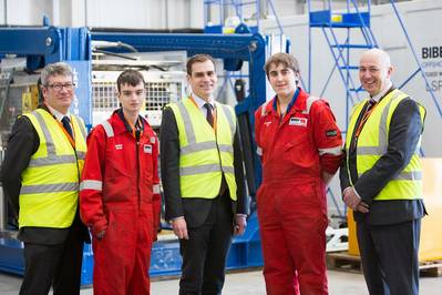 L to R: Mark Lappin, Exploration and Subsurface Director for the UK and Netherlands at Centrica Energy, ROV Apprentice Edward Beattie, MP Tom Greatrex, ROV Apprentice Alexander Tice, David Sheret, General Manager, Global Business Development, Bibby Offshore (Photo courtesy of Centrica Energy and Bibby Offshore)