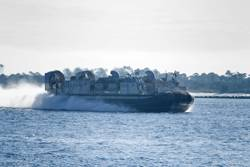 Landing Craft, Air Cushion (LCAC) amphibious transport vehicle.