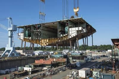 File photo: Nuclear-powered aircraft carrier John F. Kennedy under construction at Newport News Shipbuilding (Photo: John Whalen)
