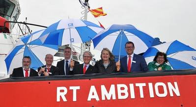Left to right: Andreas Peukert (General Manager Germany), Uwe Magnussen (General Manager Germany), Captain Ingo von Allwörden, Dorus Knegtel (KOTUG's Advisor to the board), sponsor lady Claire Knegtel (wife of Dorus Knegtel), Ard-Jan Kooren (CEO KOTUG), Margo Kok (CFO KOTUG).