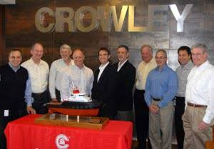 Left to right: Bill Pennella, Crowley vice chairman and executive vice president; Rocky Smith, Crowley senior vice president and general manager, petroleum distribution and marine services; Lawson Hitt, Bollinger program manager; Tom Crowley, Crowley president, chairman and CEO; Chris Bollinger, Bollinger executive vice president new construction; Lynn Falgout, Bollinger vice president and general manager; Ed Schlueter, Vessel Management Services vice president; Daniel Cavalier, Vessel Managemen