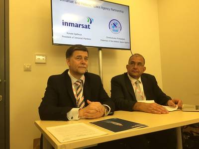 Left to right: Inmarsat's Maritime President Ronald Spithout with Christodoulos Protopapas, Chairman of the Hellenic Space Agency (Photo: Greg Trauthwein)