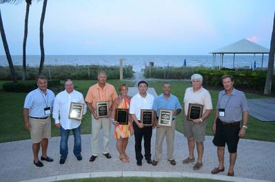 Left to right: Jimmy Burgin, AEU; Pat O'Driscoll, Levin Enterprises, Inc.; Randy Rader, RBT Welders, LLC; Nichole DeGidio, 1st Flagship, Inc.; Simon Lee, Keppel AmFELS LLC; Gus Cagigas, Diversified Port Holdings, LLC; Steve White, McGriff Seibels & Williams, broker for Linea Peninsular, Inc.; and Mike Lapeyrouse, AEU