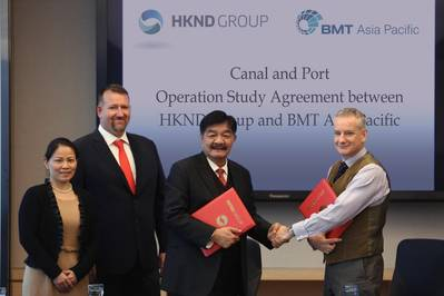 (Left to right): Li Wenjie (CEO Representative and CAO of HKND Group), John Murray (Senior Advisor of HKND Group) and Kwok Wai Pang (Executive Vice President of HKND Group), Dr Richard D Colwill (Managing Director of BMT Asia Pacific) (Photo: BMT)