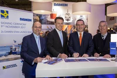 left to right: Mijndert Wiesenekker (Damen), Arnout Damen (Damen), Leendert Muller (Multraship), Kees Muller (Multraship). (Photo: Damen)