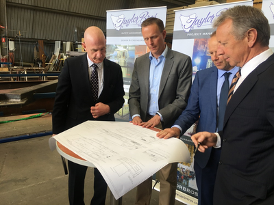 left to right:  Mr. Peter Gutwein (the Tasmanian Minister for State Growth), Mr. Magiel Venema (Damen Australia Project Director), Mr. Greg Taylor (Taylor Bros), Mr. Phillip Taylor (Taylor Bros) (Photo: DSNS)