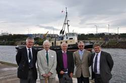 Len Jones (2nd left) at QEII Dock with (l-r) former colleagues Jim Cordiner, David Ogilvie, Ray Howells and current Ship Canal general manager Dean Hammond.