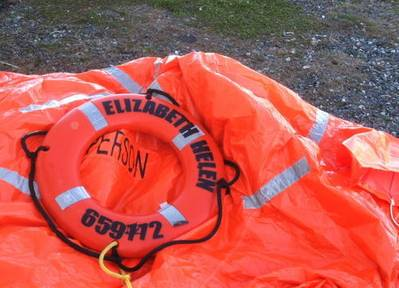 liferaft from the 55-foot fishing vessel Elizabeth Helen, homeported in West Kingston, R.I., is shown after two fishermen were rescued three miles northeast of Block Island, R.I.