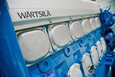 6-cylinder Wärtsilä 20DFdual-fuel engine engine: Photo courtesy of Wärtsilä