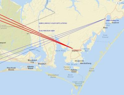 Lines of bearing v. reported location: Map courtesy of USCG