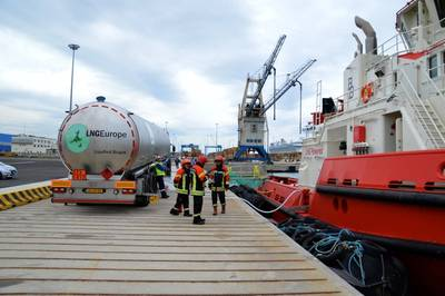 LNG ship bunering in Europe: File photo